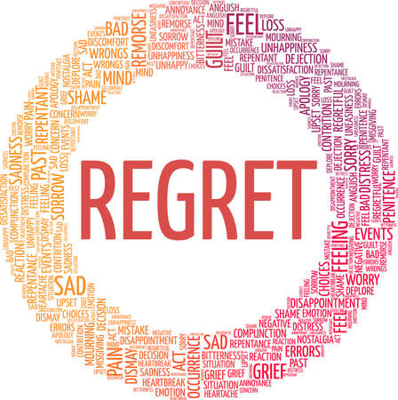 Regret vector illustration word cloud isolated on a white background.