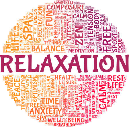 Relaxation vector illustration word cloud isolated on a white background.