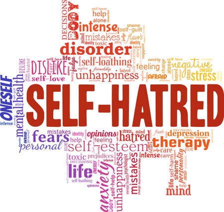 Self hatred vector illustration word cloud isolated on a white background. Illustration