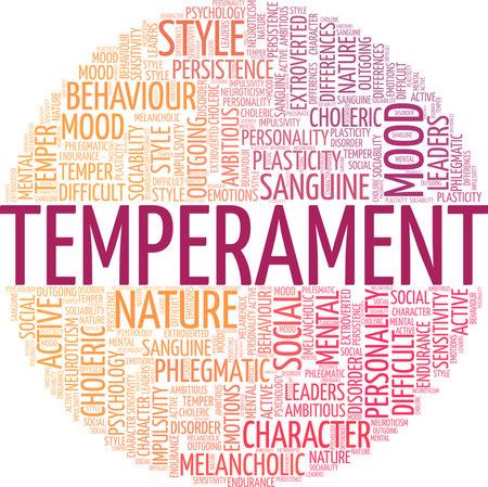 Temperament vector illustration word cloud isolated on a white background. Ilustração