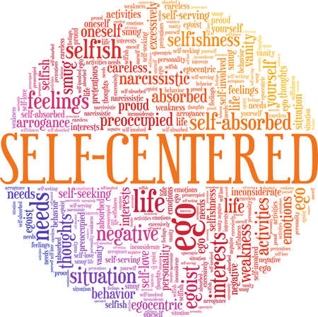 Self-centered vector illustration word cloud isolated on a white background.