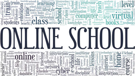 Online school vector illustration word cloud isolated on a white background.