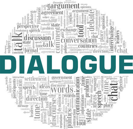 Dialogue vector illustration word cloud isolated on a white background.
