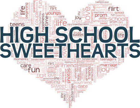 High school sweethearts vector illustration word cloud isolated on a white background.