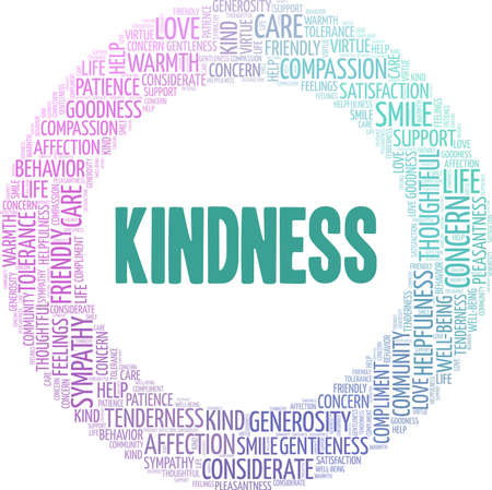 Kindness vector illustration word cloud isolated on a white background.