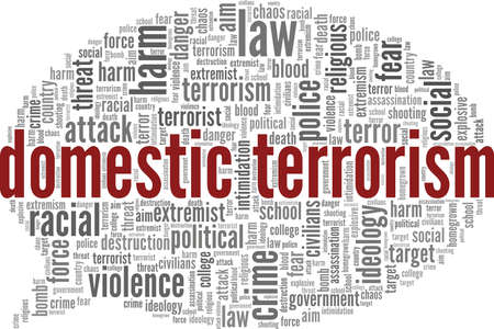 Domestic terrorism vector illustration word cloud isolated on a white background.