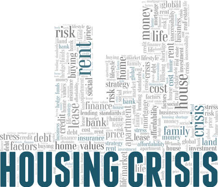 Housing crisis vector illustration word cloud isolated on a white background. Vetores