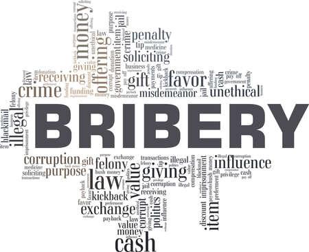 Bribery vector illustration word cloud isolated on a white background. Vektoros illusztráció