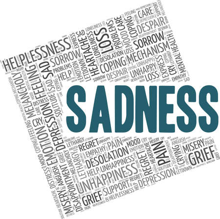 Sadness vector illustration word cloud isolated on a white background. Vettoriali