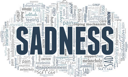 Sadness vector illustration word cloud isolated on a white background.