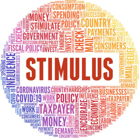 Stimulus vector illustration word cloud isolated on a white background.