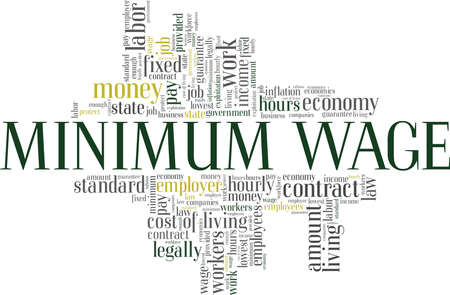Minimum wage vector illustration word cloud isolated on a white background.