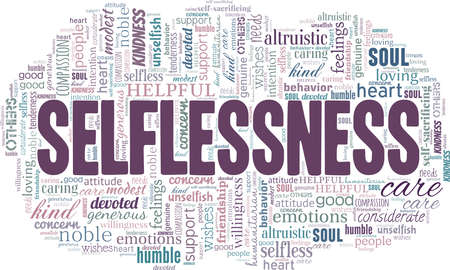 Selflessness vector illustration word cloud isolated on a white background.