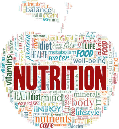 Nutrition vector illustration word cloud isolated on a white background.