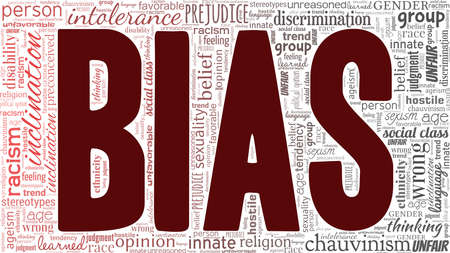 Bias vector illustration word cloud isolated on a white background.