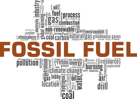 Fossil fuel vector illustration word cloud isolated on a white background.