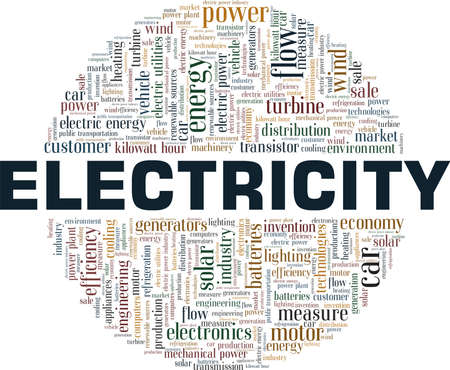 Electricity vector illustration word cloud isolated on a white background.