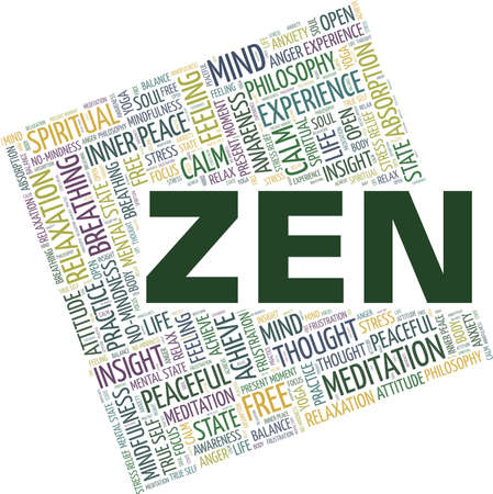 Zen vector illustration word cloud isolated on a white background.
