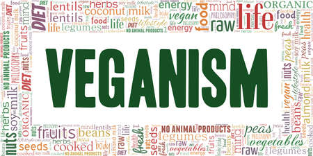 Veganism vector illustration word cloud isolated on a white background.