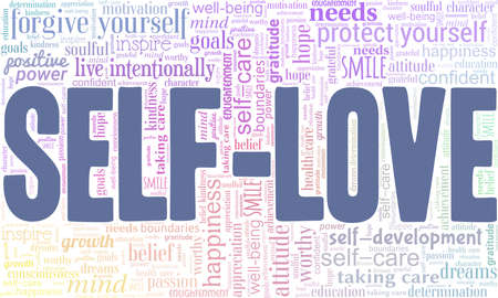 Self-love vector illustration word cloud isolated on a white background.