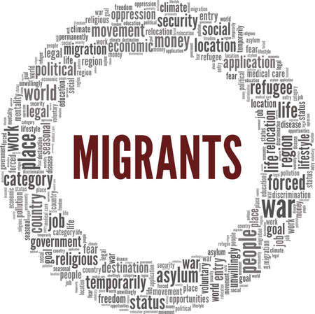 Migrants vector illustration word cloud isolated on a white background.