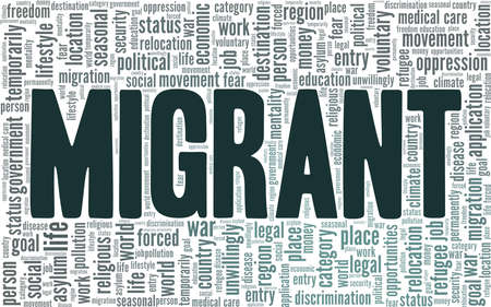 Migrant vector illustration word cloud isolated on a white background.