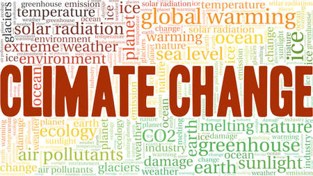 Climate change vector illustration word cloud isolated on a white background.