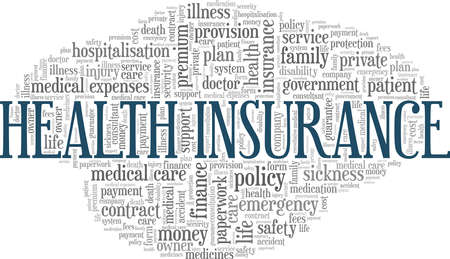 Health insurance vector illustration word cloud isolated on a white background.