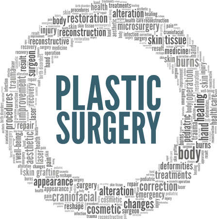 Plastic surgery vector illustration word cloud isolated on a white background.