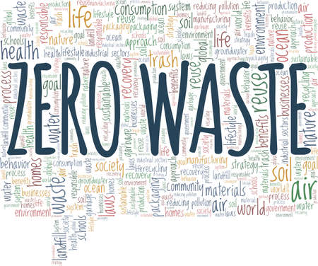 Zero waste vector illustration word cloud isolated on a white background.