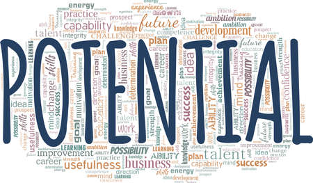 Potential vector illustration word cloud isolated on a white background.