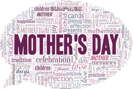 Happy Mother's Day vector illustration word cloud isolated on a white background.