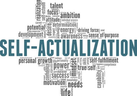Self-actualization vector illustration word cloud isolated on a white background. Vektorgrafik
