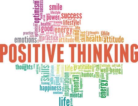 Positive thinking vector illustration word cloud isolated on a white background. Ilustracje wektorowe