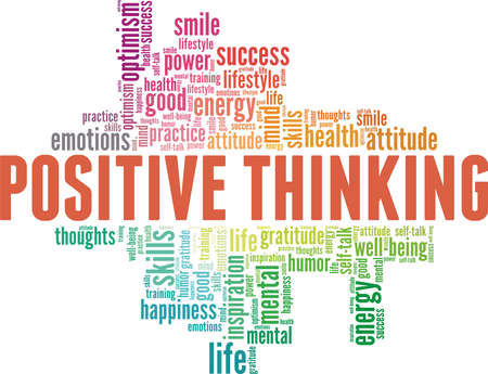 Positive thinking vector illustration word cloud isolated on a white background. Vetores