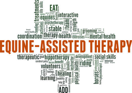 Equine-Assisted Therapy vector illustration word cloud isolated on a white background. Ilustración de vector