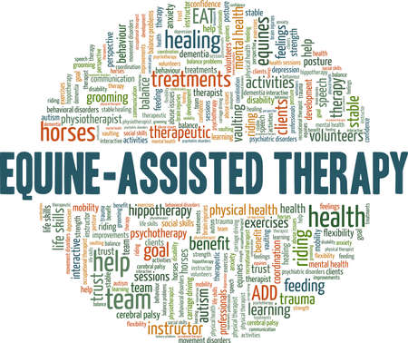 Equine-Assisted Therapy vector illustration word cloud isolated on a white background.