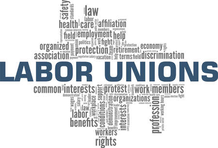 Labor unions vector illustration word cloud isolated on a white background. Ilustração Vetorial