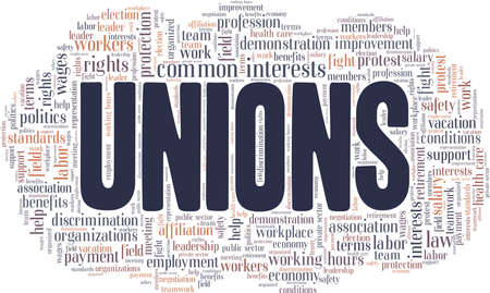 Unions vector illustration word cloud isolated on a white background.