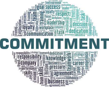 Commitment vector illustration word cloud isolated on a white background.