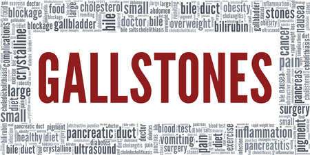 Gallstones vector illustration word cloud isolated on a white background. Vetores