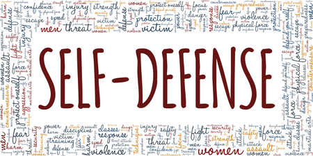 Self-defense vector illustration word cloud isolated on a white background.