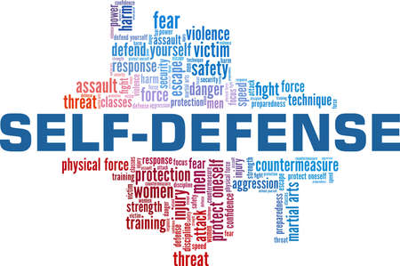 Self-defense vector illustration word cloud isolated on a white background. Vector Illustratie