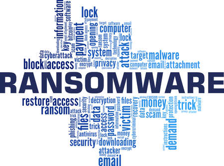Ransomware vector illustration word cloud isolated on a white background.