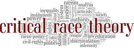 Critical Race Theory vector illustration word cloud isolated on a white background.
