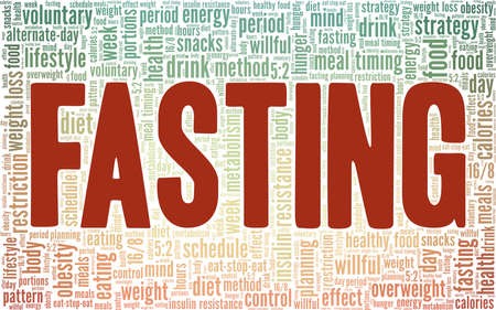 Intermittent Fasting vector illustration word cloud isolated on a white background.