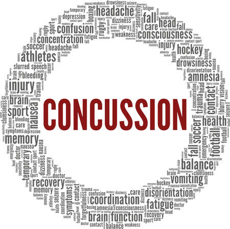 Concussion vector illustration word cloud isolated on a white background.