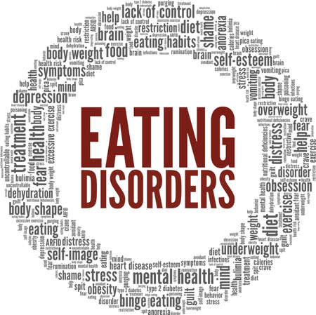 Eating disorders vector illustration word cloud isolated on a white background. Vector Illustration