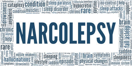 Narcolepsy vector illustration word cloud isolated on a white background.