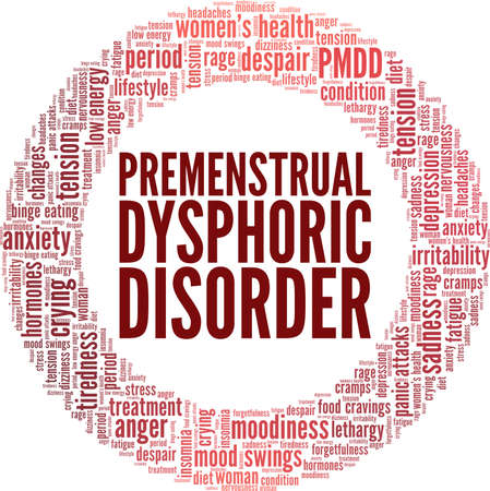 Premenstrual Dysphoric Disorder vector illustration word cloud isolated on a white background.
